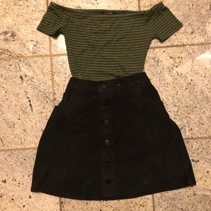 Off the shoulder green and black stripped top